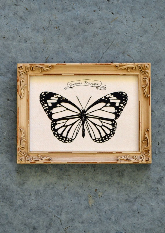 Sale 20% Off // MONARCH BUTTERFLY Papercut - Hand-Cut Silhouette, Framed // Coupon Code SALE20