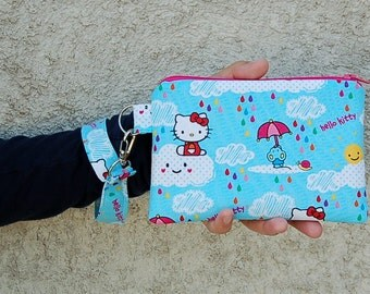 Wristlet Purse with Removable Wristlet Strap and Interior Pocket - Handcrafted from Hello Kitty Rain or Shine Fabric