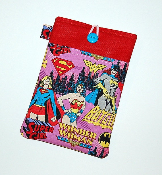 iPad Mini / Kindle / Nook / Nexus 7 Padded Cover with Front Pocket - Handcrafted from Girl Power Superheroes Fabric (Pink)