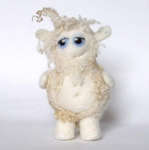Betti The Yeti Needle Felted Curly Haired Yeti Felt Monster