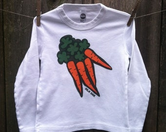 Orange Carrots Hand Silkscreened Child Long Sleeve Tee 2, 4, 6, 8, 10, 12