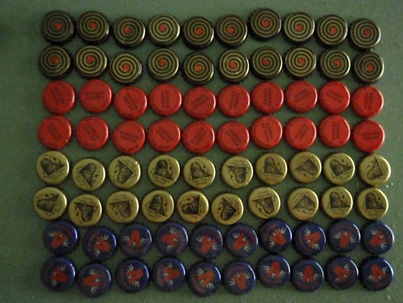 80 Beer Bottle Caps - Red, Blue, and Gold - Victory Sierra Nevada Smutty and Magic Hat