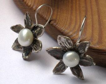 June Stone - Silver Pearl Earrings Dangle, Bridal Sterling Flower Earrings, Pearl Drop Earrings