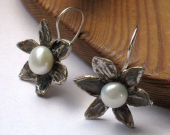 June Stone - Pearl Flower Earrings, Short Dangle Earrings, Pearl Flower Drops, Silver Pearl Earrings, Earrings Dangle, Bridal  Earrings