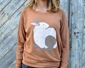 Womens Bunny Long Sleeve - Sweatshirt - Fall Fashion - Winter Fashion - Slouchy Pullover