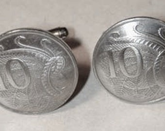 Coin cufflinks-Australian Superb Lyre-Bird cufflinks-handmade in the USA-free shipping