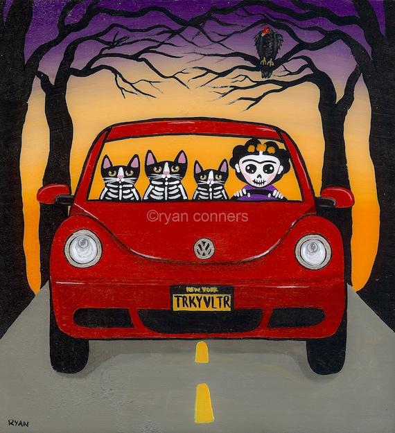 RESERVED Frida Volkswagen and Halloween Cats