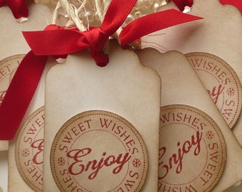 Christmas Tags - Sweet Wishes Enjoy - Vintage Style Tags - Set of 10 - Red Ribbon