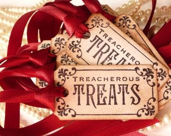Halloween Decorations - Claret  - Treacherous Treats  - Favor Tags - Set of 10
