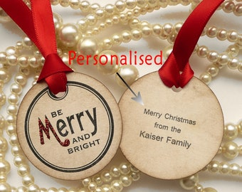 Christmas Gift Tags - Be Merry and Bright - Set of 5 Personalised  Tags - with Bright Red Ribbon and Red and Gold Glitter
