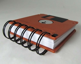 Computer Floppy Disk Notebook Jumbo Dark Orange Recycled Geek Gear Blank Mini 125 sheets