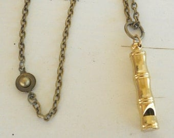 Brass Whistle Necklace,  Vintage Whistle