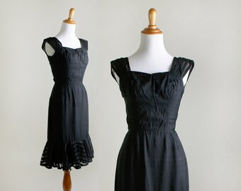 Vintage 1960s Dress - Little Black Dress by Mignon - Sheer Ruffles - Small XS