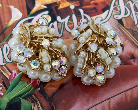 Vintage AB Rhinestone and Faux Pearl Earrings ... 1950's jewelry