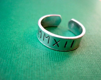 Roman Numerals Ring - Personalized Hand Stamped Ring - Skinny Band