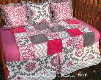 Custom Pink & Charcoal Mod Palette Baby Nursery BUMPERLESS Crib Bedding Set made with DESIGNER fabric