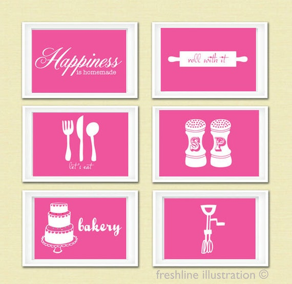 Items similar to kitchen art set funny kitchen art for Funny kitchen set