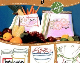Fruits & Veggies designs Aunt Martha's Hot Iron Transfers Booklet 8 pages
