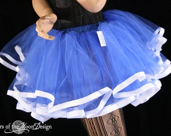 Sailor tutu petticoat skirt adult royal with white trim Halloween costume extra poofy carnival - You choose Size - Sisters of the Moon