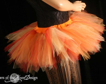 Adult tutu skirt mini micro Flame streamer dance doller derby gogo edc fire dancer club wear -- You Choose Size -- Sisters of the Moon