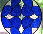 Cobalt Blue Stained Glass Beveled Star Round Suncatcher