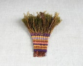 kitchen wall decor - orange brown  purple striped  - handmade moss broom -  country decor - Birribe