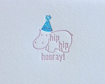 Letterpress Hip Hip Hooray Happy Birthday or Congratulations Hippo card, Matching Envelope, Deep impression