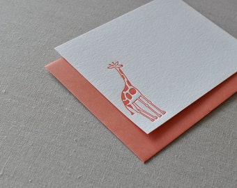 Letterpress Giraffe cards, set of six, flat cards and envelopes