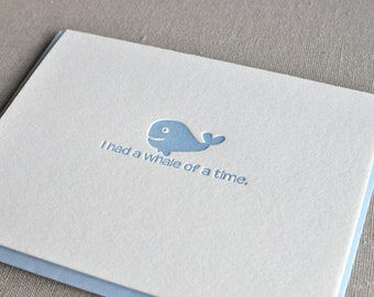 Whale of a Time Letterpress Thank You Greeting Card with Envelope
