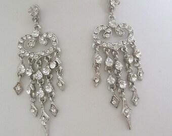 Bridal Jewelry Bridal Accessories Bride - Bridesmaid - Rhinestone Chandelier EarringsVintage style