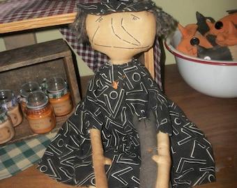 Hilda witch doll primitive halloween doll decor black cat black dress and hat prim doll