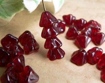Dark Red Czech Glass Baby Bell Flower Beads Light Garnet 6x8mm (25)