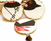 Big Necklace in Black and Red - Bird Rearranged