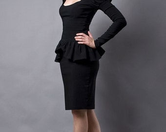 Black Pencil Skirt with a Metal Zipper-Made to Order