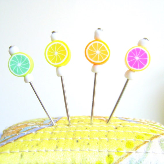 4 pcs Decorated Multi use Straight Pins, needles - Fruit Shish Kebab- For Pincushions, Coark Board and Wall Decorations