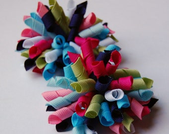 Smart and Sweet Mini Korkers Set of 2 Hair Bows Navy Blue Pink Green