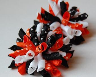 Tiger Tracks Mini Korkers Set of 2 Hair Bows Black Orange White