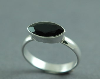 Black Spinel Sterling Silver Ring Marquise Stone Evening Ring Gothic Jewellery Free Shipping Worldwide via Courier