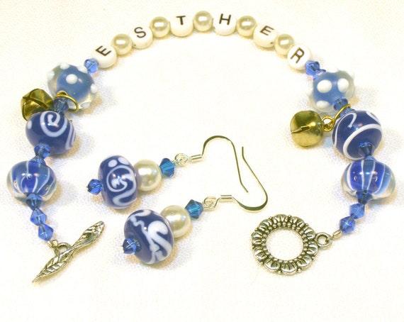 Purim Bracelet Blue and White Esther Bracelet Set with Bells