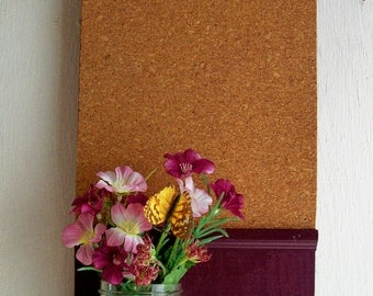 French Country Wood  Shelf Cork Board Mason Jar Message  Center Mason Jar