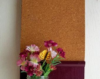 French Country Wood  Shelf Cork Board Mason Jar Message  Center Mason Jar