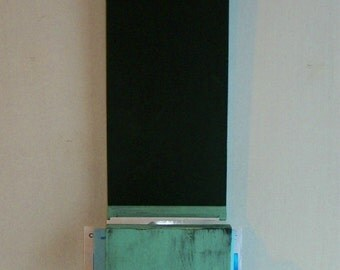 Worn Mint Green Primitive French Country Wood  Blackboard Mail Holder
