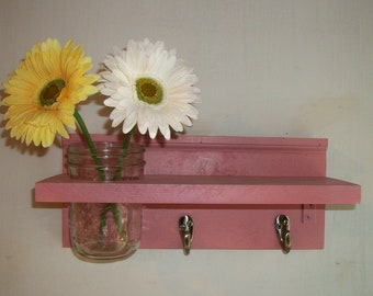 Wood Wall Mason Jar Shelf Cottage Soft Shabby Pink Chic Color
