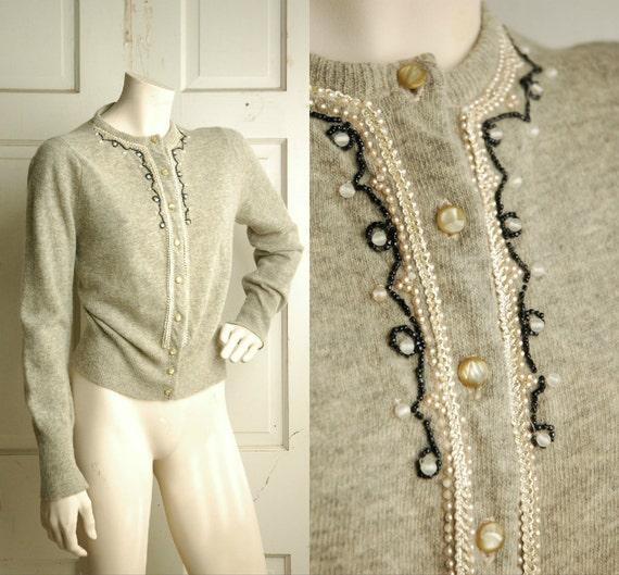 1950s Grey Cardigan / Vintage Wool Sweater