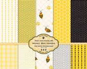 Honey Bee Digital Paper Pack Printable Yellow and  Black Gold and Black Bee paper