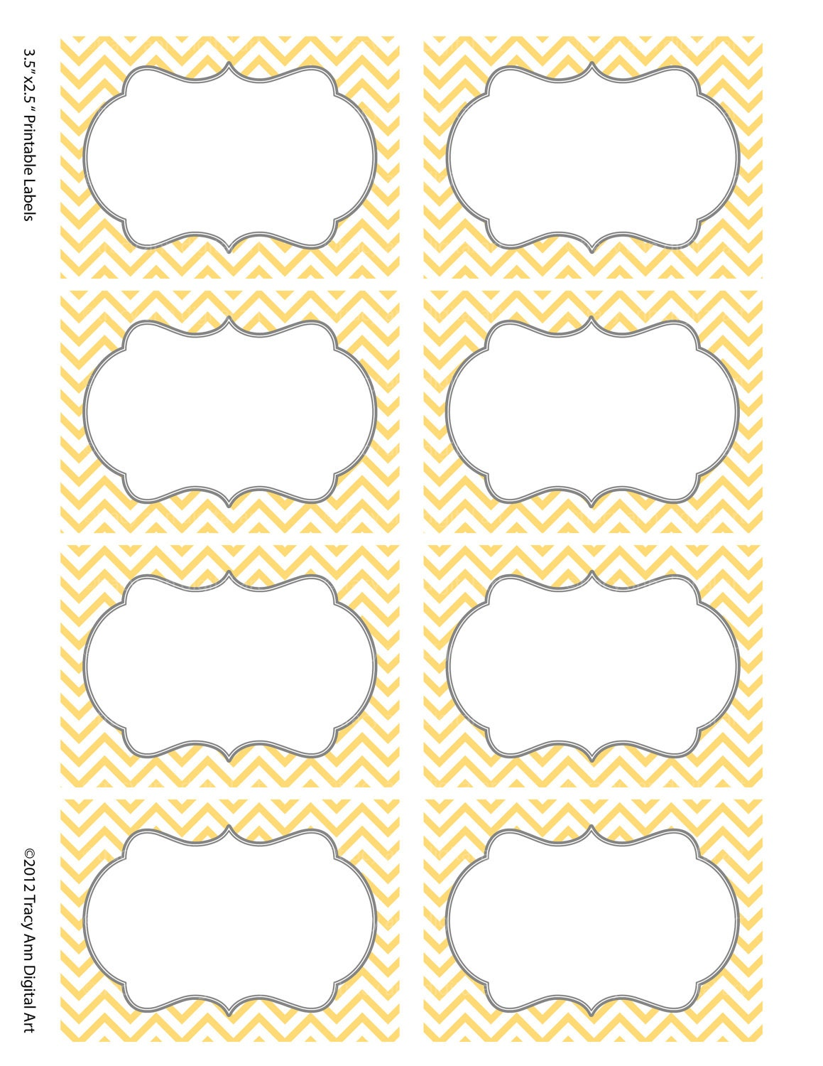 Chevron Labels Print your own Labels Yellow by TracyAnnDigitalArt