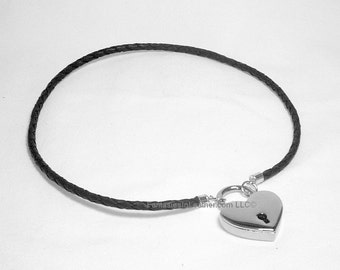 Subtle Braided Black Leather Collar With Padlock - Large  (COL 128)
