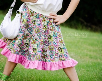 Ruffled Circle Skirt Pattern with Tutorial sizes 3m - 8 girls PDF Instant