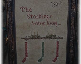 The Stockings Were Hung Primitive Sampler Pattern E-Pattern PDF