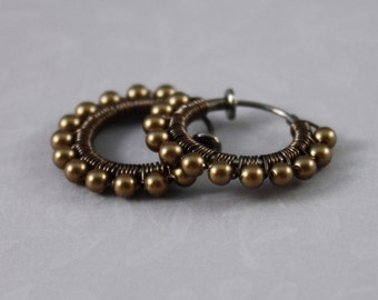 Clip on hoop earrings Antique Brass and Gunmetal non pierced